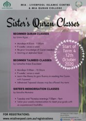 MIA Quran College - Sisters Memorisation Classes @ MIA Liverpool Islamic Centre